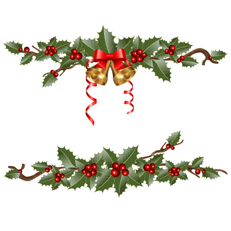 christmas greetings: Christmas garlands with  branches holly