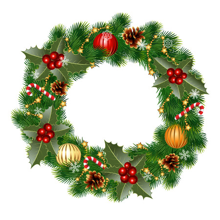 pine decoration: Christmas wreath decorated with balls and decorative elements