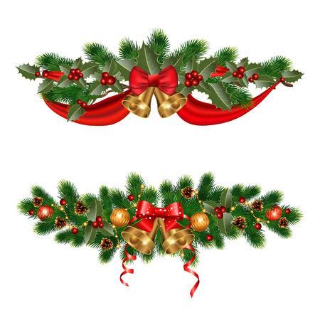 adornos navideños: Decoraciones de Navidad con abeto y elementos decorativos Vectores