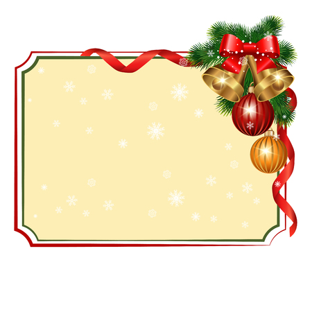Christmas background with branches of spruce with decorative elements
