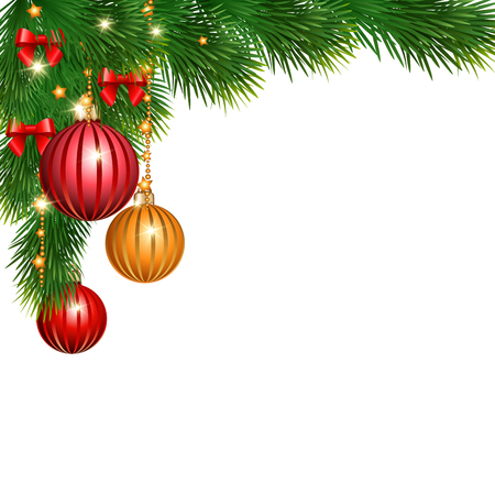 christmas balls: Christmas background with branches of spruce with decorative elements