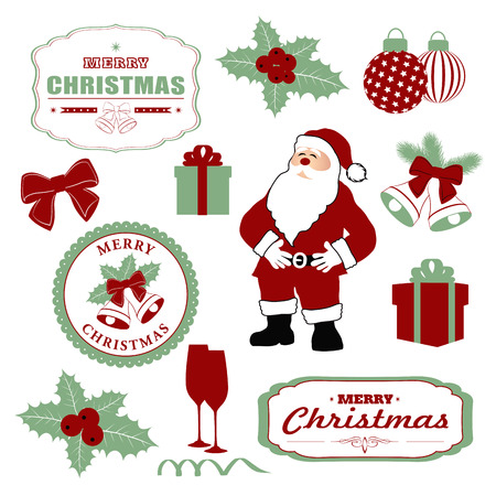 decorative items: set christmas decorations and decorative items. vector illustration Illustration