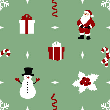 gift bow: sample seamless Christmas pattern with decoration. vector illustration Illustration