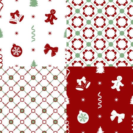 burgundy colour: Set of seamless christmas patterns. vector illustration Illustration