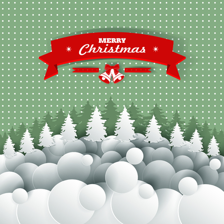 applique: Christmas background applique with paper. Vector illustration