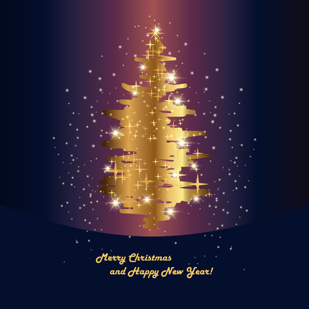 spruce: Christmas holiday background with shiny golden spruce. vector illustration