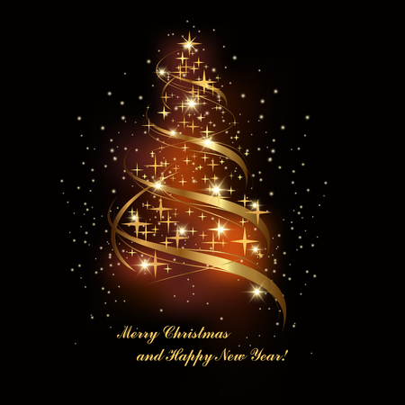 holiday background: Christmas holiday background with shiny golden spruce. vector illustration