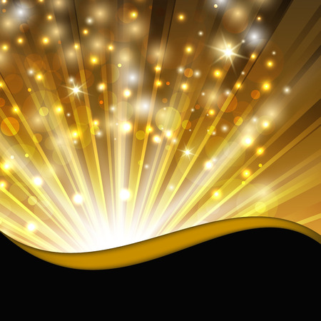 abstract shimmering background with magic lights and decorative wave