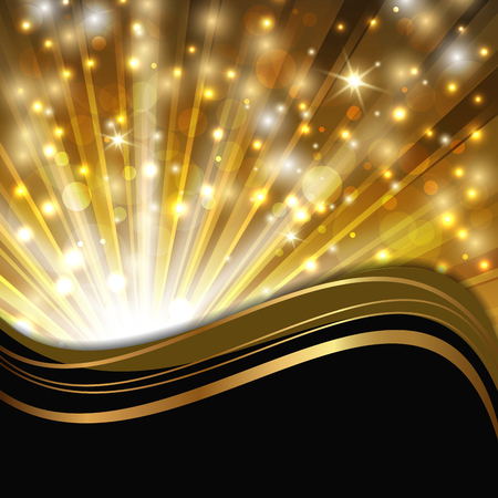 gold: abstract shimmering background with magic lights and decorative wave
