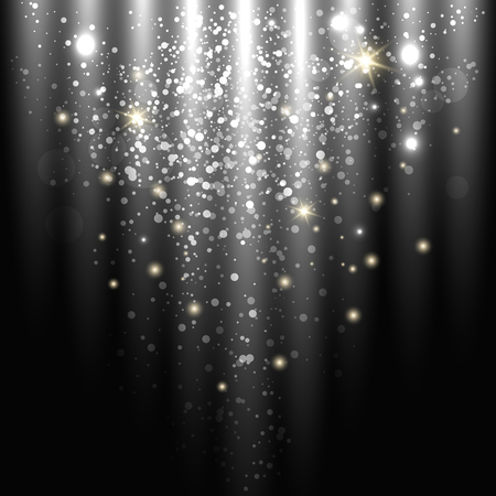year curve: dark sparkling background with glowing sparkles and glitter. vector illustration