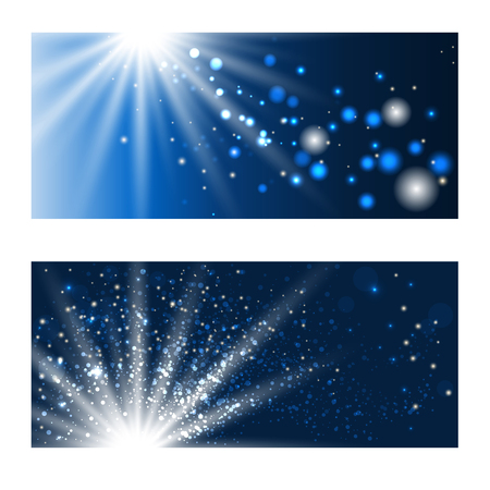 luminous: Abstract blue shining backgrounds with luminous dots. Vector illustration