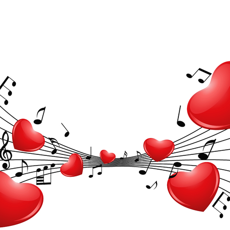 Romantic background with hearts and notes. Vector illustration