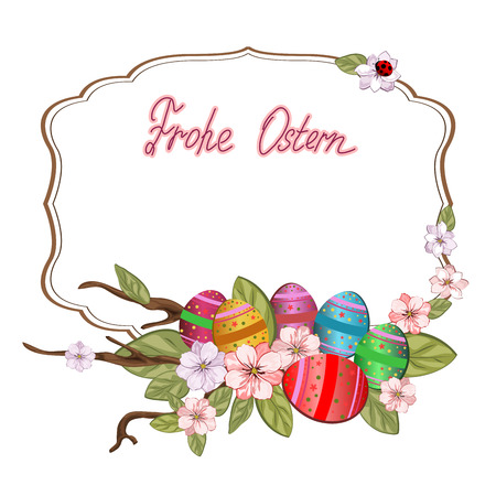 ostern: Easter background with colored eggs.