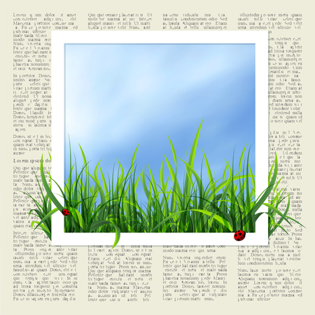 air hole: spring background with grass and white frame. illustration Illustration