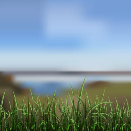 unfocused: background of unfocused lake shore. illustration Illustration