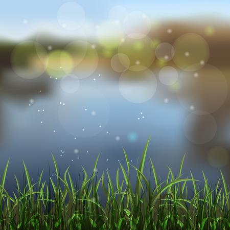 blue lagoon: background of unfocused lake shore. illustration Illustration