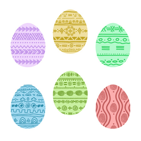 religious celebration: set with Easter patterned eggs. vector illustration