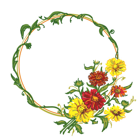 drawing bouquet colored wild flowers with frame. illustration