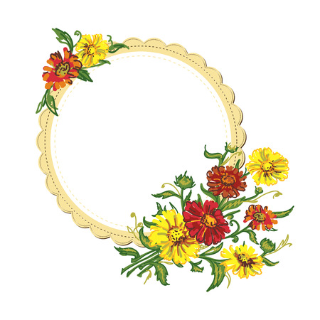 serviette: drawing bouquet colored wild  flowers with frame . illustration