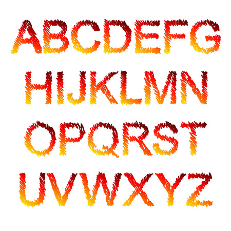 fiery: Red and yellow fiery painted alphabet set. Vector illustration.