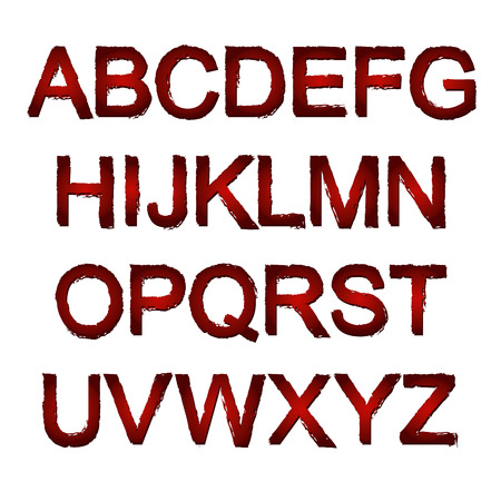 titles: Dark red painted alphabet set. Vector illustration.