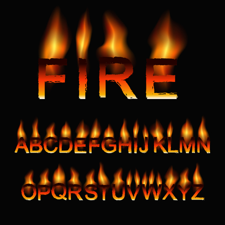 fiery: Font set in the fiery style. Vector illustration. Illustration