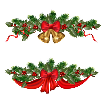 moños de navidad: Christmas decorations with fir tree and decorative elements. vector illustration