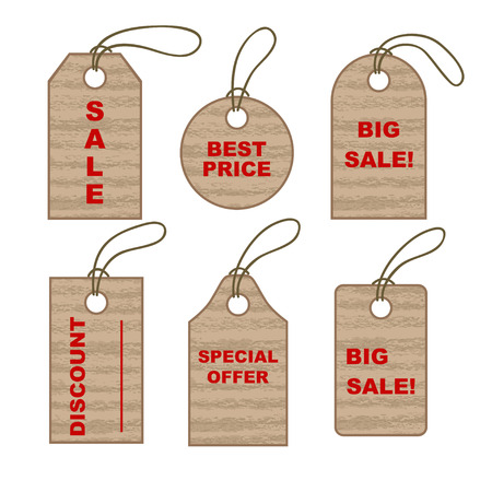 cling: Set of cardboard tags. Sale promotion and gift card in different shapes. Vector illustration