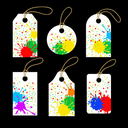 cling: Set of colorful tags. Sale promotion and gift card in different shapes. Vector illustration