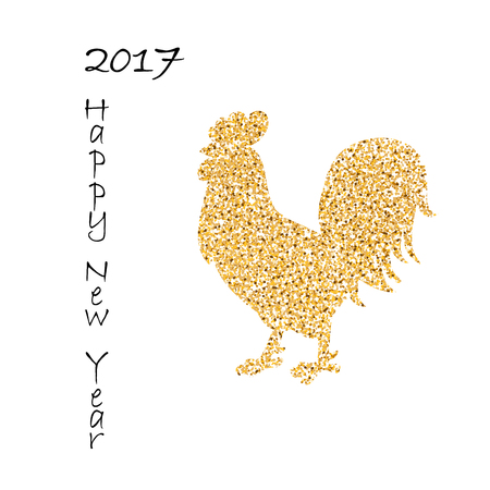 Background for 2017 Chinese new year. The year of rooster. Vector illustration. 2017 new year of rooster. Black lettering 2017 new year and decorated with gold rooster Illustration