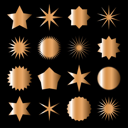 Collection of bronze gradient icons and labels for holiday of Christmas and New Year or any celebration. Vector illustration. Illustration
