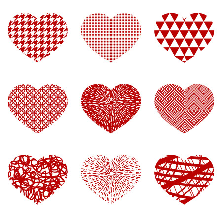 Set decorative hearts with Valentines day. Collection design elements for holidays. Vector illustration Illustration