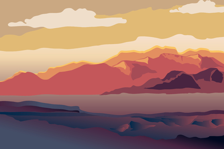Background with mountain landscape. Sunset in mountains. Vector illustration.