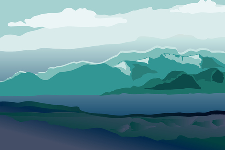 Background with mountain landscape. Morning mountains in fog. Vector illustration. Иллюстрация