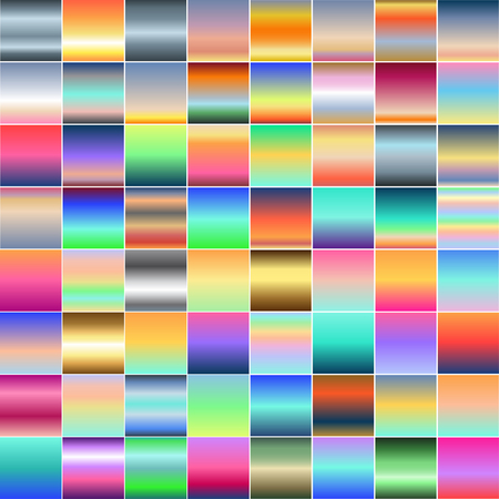 Set of different multicolored gradients. Collection of colored shiny textures. Vector illustration. Illustration