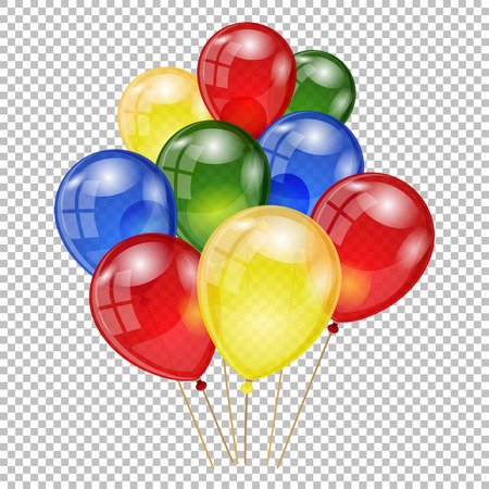 Set of colorful balloons on transparent background. Happy birthday banner. Vector illustration.