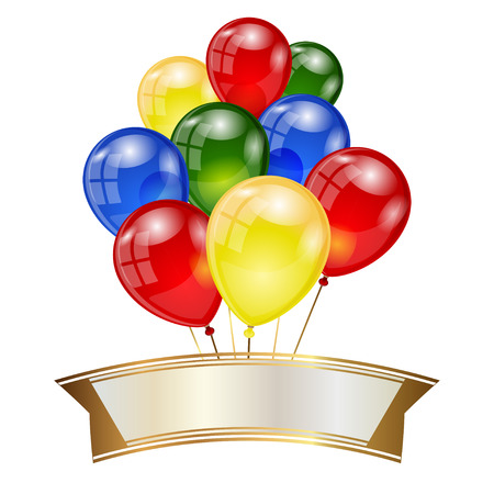 Balloons Greeting Card Happy Birthday Banner Vector Illustration