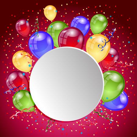 Happy birthday holiday card. Balloons greeting banner. Vector illustration.