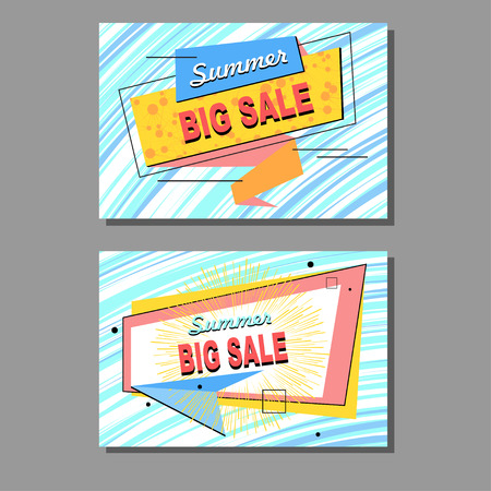 Two stickers, labels, icons or banners for sale. Summer collection of design elements for markets, stores and shops. Vector illustration. Illustration