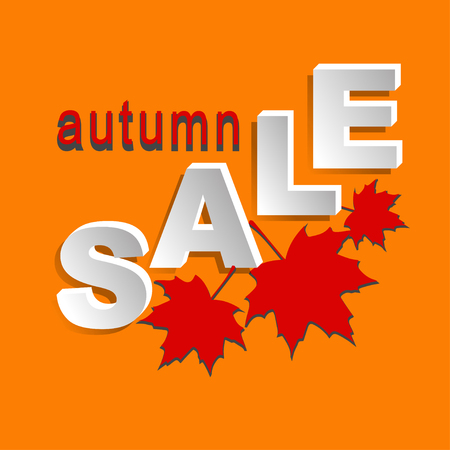 Autumn design element for markets, stores and shops. Sticker, label, icon or banner for Hallowen sale. Vector illustration.