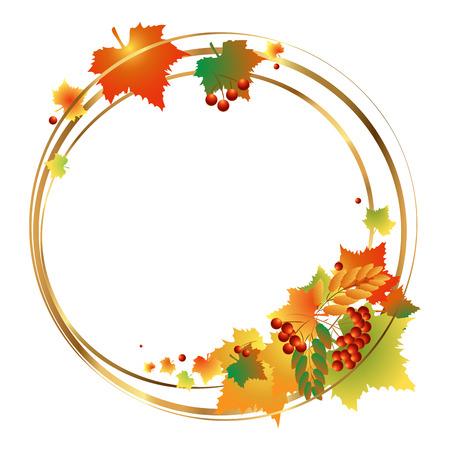 Wreath of autumn leaves. Vector illustration.