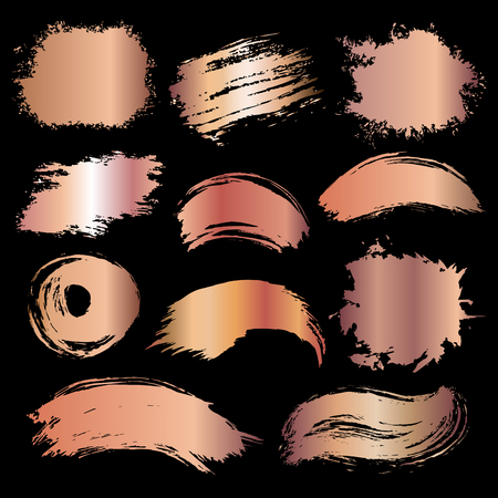 Rose gold brush stroke. Hand drawn abstract texture. Vector illustration.