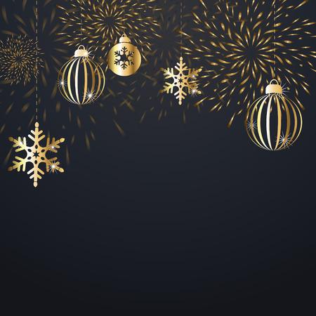 Kerstmisachtergrond met gouden decoratie. Vakantie kerst donkere kaart met gouden sneeuwvlokken, ballen en voetzoeker. Vector illustratie Vector Illustratie