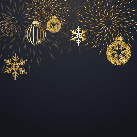 Kerstmisachtergrond met gouden decoratie. Vakantie kerst donkere kaart met gouden sneeuwvlokken, ballen en voetzoeker. Vector illustratie