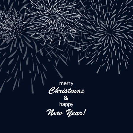 Holiday Christmas card with congratulatory inscription and fireworks Vector illustration