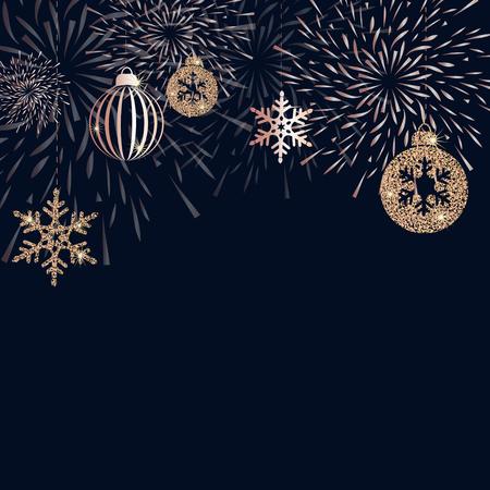 Kerstmisachtergrond met gouden decoratie Vectorillustratie
