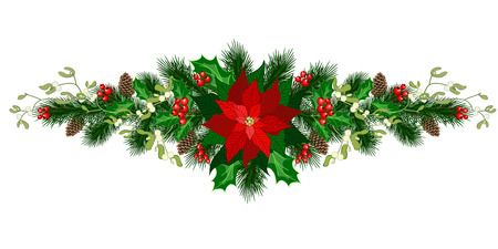 Christmas decorations with poinsettia, fir tree, pine cones, holly, berries and other decorative elements. Illustration