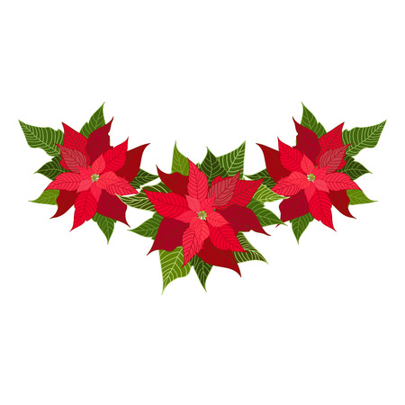 christmas decorations with poinsettia design element for christmas decoration vector illustration stock vector