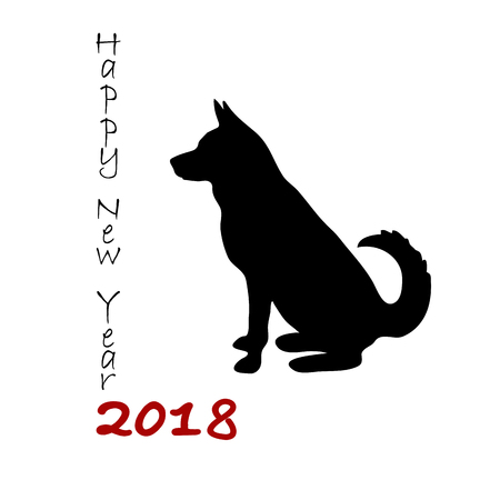 Black lettering 2018 new year and decorated with dog.