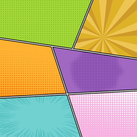 Comics template with radial rays and dotted filling in pop-art style. Colorful comics book page background.